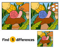 Find differences (snail and background). Find differences, education game for children (snail and background Royalty Free Stock Images