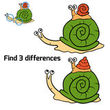 Find 3 differences (snails). Game for children: Find 3 differences (snails Stock Image
