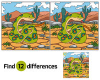 Find differences (snake). Find differences game for children (snake stock illustration