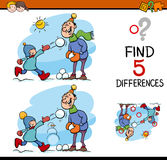 Find the differences task. Cartoon Illustration of Finding Differences Educational Task for Preschool Children with Family on Winter Time Stock Images