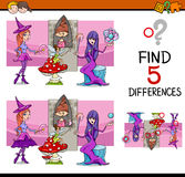 Find the differences task. Cartoon Illustration of Finding Differences Educational Task for Preschool Children with Fantasy Characters Royalty Free Stock Photography