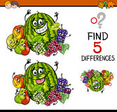 Find the differences task. Cartoon Illustration of Finding Differences Educational Task for Preschool Children with Fruit Characters Stock Photo