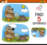 Find differences task. Cartoon Illustration of Finding Differences Educational Task for Preschool Children with Mole Animal Character Stock Images