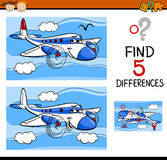 Find the differences task. Cartoon Illustration of Finding Differences Educational Task for Preschool Children with Plane Transport Character Stock Image