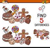 Find the differences task. Cartoon Illustration of Finding Differences Educational Task for Preschool Children with Sweet Food Characters Royalty Free Stock Photos