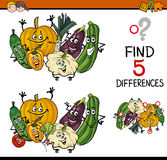 Find the differences task. Cartoon Illustration of Finding Differences Educational Task for Preschool Children with Vegetable Characters Royalty Free Stock Image