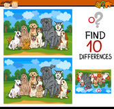 Find differences task for kids. Cartoon Illustration of Finding Differences Educational Game for Preschool Children with Dogs Stock Photos