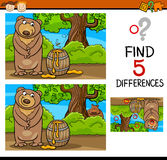 Find differences task for kids. Cartoon Illustration of Finding Differences Educational Task for Preschool Children with Bear and Honey Royalty Free Stock Image