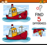 Find the differences task for kids. Cartoon Illustration of Finding Differences Educational Task for Preschool Children with Container Ship Transport Character Stock Images