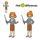 Find differences, Teacher. Find differences, education game for children, Teacher Stock Images