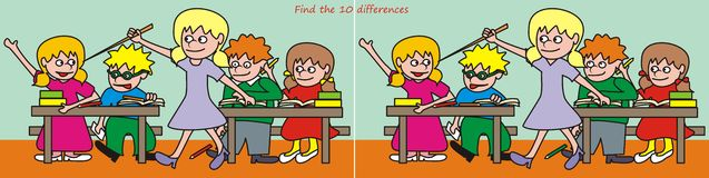 Find the 10 differences. Find ten differences in the figures - the theme school Stock Photography