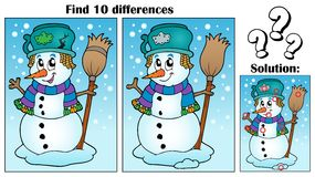 Find differences theme with snowman Royalty Free Stock Photo