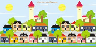 Find the 10 differences - town Royalty Free Stock Images