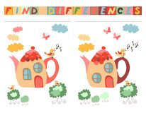 Find differences between two beautiful fairy houses - teapots. Cartoon vector illustration of education game for children Royalty Free Stock Images