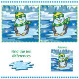 Find differences between the two images unny penguin on ice background Royalty Free Stock Photography