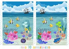 Find 10 differences. Underwater landscape with different corals, fishes and ship Stock Photos