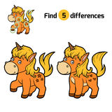 Find differences, Unicorn. Find differences, education game for children, Unicorn Royalty Free Stock Photos