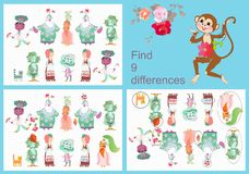 Find differences. Visual game for children and adults with cheerful unusual characters. Funny carrot, eggplant, beet, cucumber, strawberry and cat vector illustration