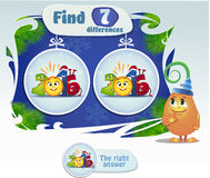 Find 7 differences. Visual Game for children. Task: find 7 differences Stock Photo
