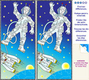Find the differences visual puzzle. Mental gym visual logic puzzle: Find the ten differences between the two pictures - space, astronaut, rocket, Earth and stars Stock Photography