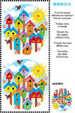 Find the differences visual puzzle - birdhouses Stock Photos