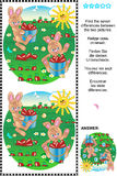 Find the differences visual puzzle - bunnies harvesting carrots Stock Image