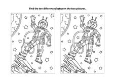 Find the differences visual puzzle and coloring page with astronaut or cosmonaut Royalty Free Stock Photography