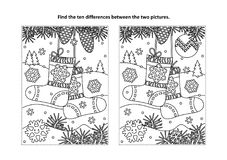 Find the differences visual puzzle and coloring page with christmas socks. Winter, New Year or Christmas themed find the ten differences picture puzzle and vector illustration