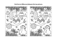 Find the differences visual puzzle and coloring page with christmas tree ornaments and snowman. Winter holidays, New Year or Christmas themed find the ten stock illustration