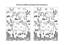 Find the differences visual puzzle and coloring page with cows on a pasture. Find the ten differences picture puzzle and coloring page with spotted milk cows on Stock Photos