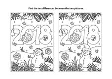 Find the differences visual puzzle and coloring page with New Year 2018 heading. New Year or Christmas themed find the ten differences picture puzzle and Stock Photo