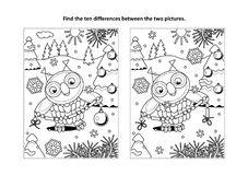Find the differences visual puzzle and coloring page with owl and garland. Winter holidays, New Year or Christmas themed find the ten differences picture puzzle Royalty Free Stock Photography