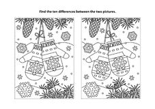 Find the differences visual puzzle and coloring page with Santa`s mittens. Winter, New Year or Christmas themed find the ten differences picture puzzle and royalty free illustration