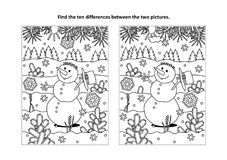 Find the differences visual puzzle and coloring page with snowman. Winter holidays, New Year or Christmas themed find the ten differences picture puzzle and Royalty Free Stock Photography