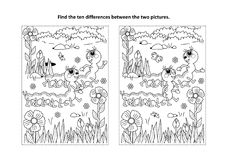 Find the differences visual puzzle and coloring page with two cute caterpillars. Spring or summer themed find the ten differences picture puzzle and coloring Stock Photo