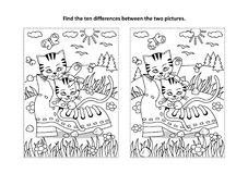 Find the differences visual puzzle and coloring page with two kittens and old shoe. Find the ten differences picture puzzle and coloring page with two cute Stock Images