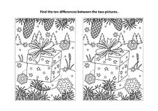 Find the differences visual puzzle and coloring page with winter holiday gift. Winter holidays themed find the ten differences picture puzzle and coloring page Royalty Free Stock Photo