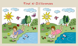 Find 10 differences. Visual puzzle. Decorative background with illustration of girl Stock Photography