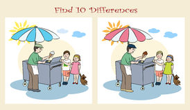 Find 10 differences. Visual puzzle. Decorative background with illustration of girl. and boy with ice cream Royalty Free Stock Photos