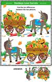 Find the differences visual puzzle with donkey and carrots. Visual puzzle: Find the ten differences between the two mirrored pictures with donkey and wagon full Stock Photography