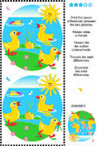 Find the differences visual puzzle - ducklings. Picture puzzle: Find the seven differences between the two pictures (plus same task text in Russian, German Stock Photo