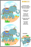 Find the differences visual puzzle with elephant. Picture puzzle: Find the seven differences between the two pictures of beautifully decorated elephant walking Stock Image