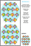 Find the differences visual puzzle - fish. Picture puzzle: Find the seven differences between the two pictures of cute colorful little fish. Answer included Stock Photography