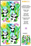 Find the differences visual puzzle - panda bears. Picture puzzle: Find the seven differences between the two pictures of cute panda bears feeding in bamboo Royalty Free Stock Photography