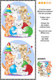 Find the differences visual puzzle with playful kittens. Picture riddle or visual puzzle: Find the seven differences between the two pictures of four playful Royalty Free Stock Photo