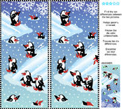 Find the differences visual puzzle - playful penguins. Christmas, winter or New Year themed picture puzzle: Find the ten differences between the two pictures of Stock Photo