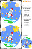 Find the differences visual puzzle - space exploration. Space exploration themed picture puzzle: Find the seven differences between the two pictures. Answer Royalty Free Stock Photography