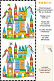 Find the differences visual puzzle - toy town Royalty Free Stock Images
