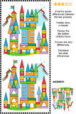 Find the differences visual puzzle - toy town. Picture puzzle: Find the seven differences between the two pictures of toy town made of colorful building blocks Stock Photo