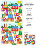 Find the differences visual puzzle - toy town. Visual puzzle: Find the ten differences between the two pictures of toy town. Answer included Royalty Free Stock Photography